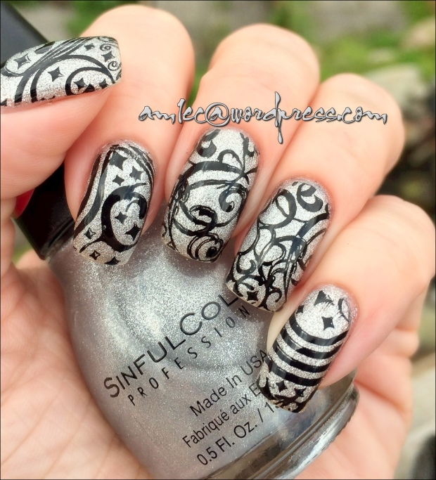 Pueen Encore SE03B; Sinful Colors Silver Solution; Konad Black