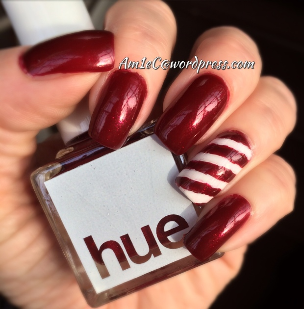 Square Hue; Candy Cane accent nail