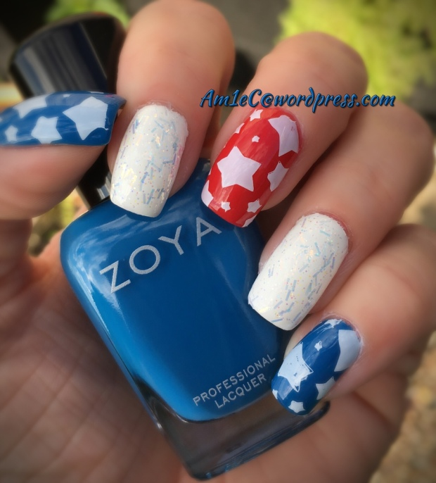 ZOYA RWB mani with Bundle Monster sTars