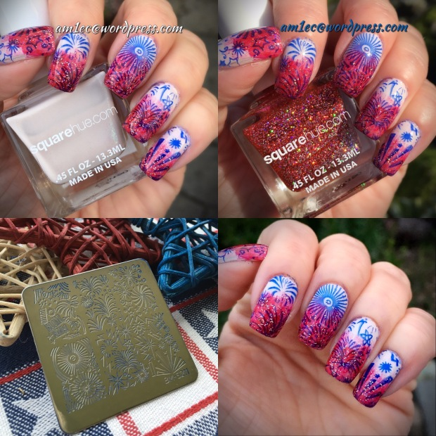July Fourth manicure; RWB nails